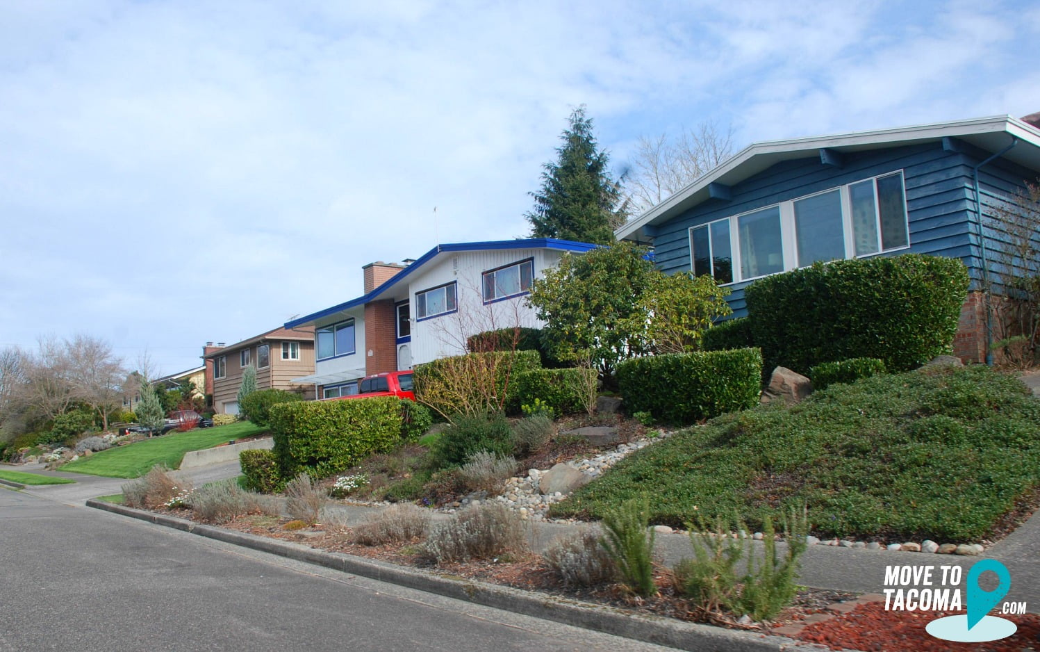 Blue split level homes in North Tacoma WA