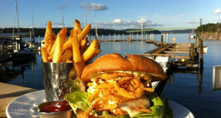 Food on the deck at Boathouse 19 in Tacoma