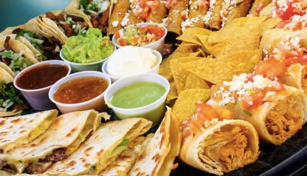 A platter of food at Antojos in Tacoma WA