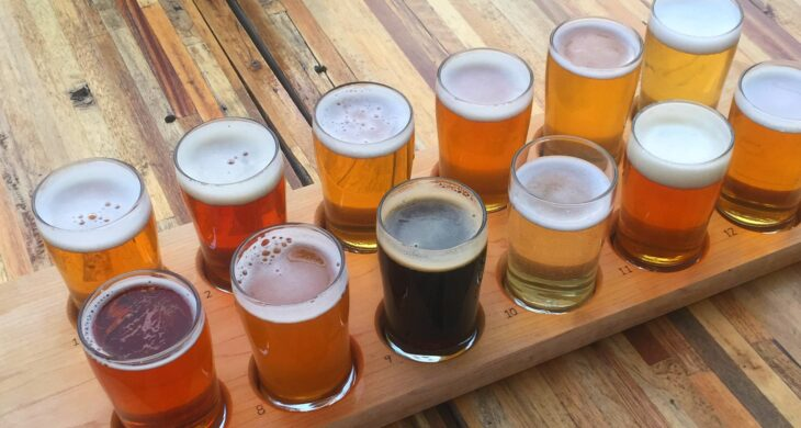 a flight of beer at tacoma brewing