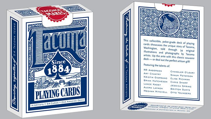 Chandler O'Leary designed this pack of playing cards for Tacoma Makes, and contributed a few card illustrations to the project.