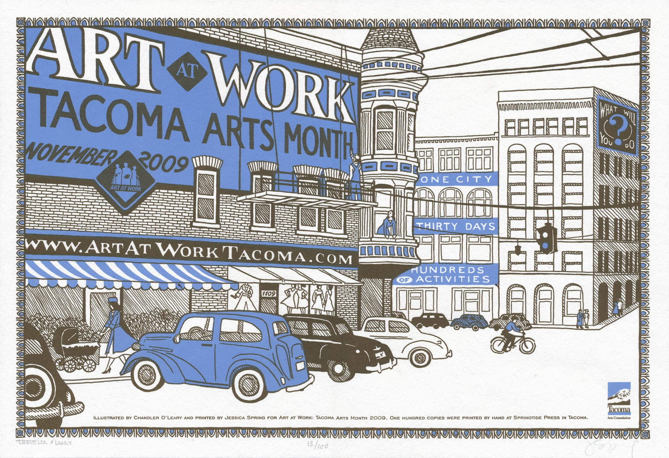 """Art At Work"" posted commissioned by the City of Tacoma. Letterpress printed by Jessica Spring."